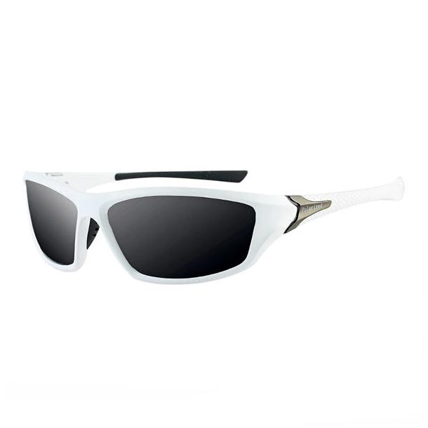 #S5 Sporty hvid solbrille med UV filter og polaroid-glas - Sort/hvid stel