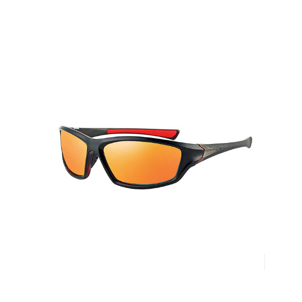 #S6 Sporty solbrille med UV filter og orange polaroid-glas - Sort stel