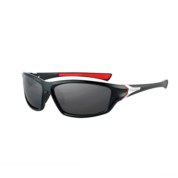 #S7 Sporty sort solbrille med UV filter og polaroid-glas - Sort/rød