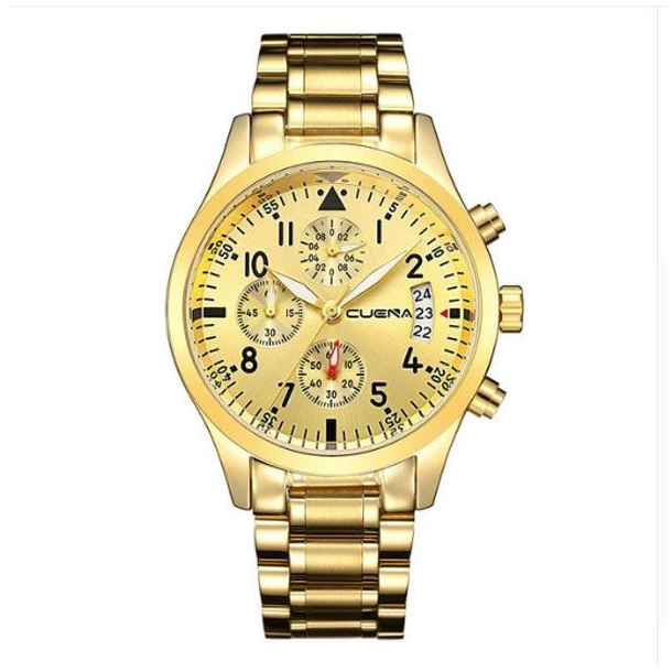 #539 Stort lækkert guldtonet ur med datovisning og chronograph