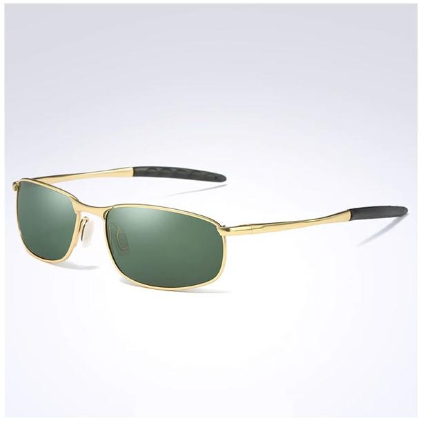 #S45 Lækker gylden Herre solbrille med Polaroid og UV400 filter