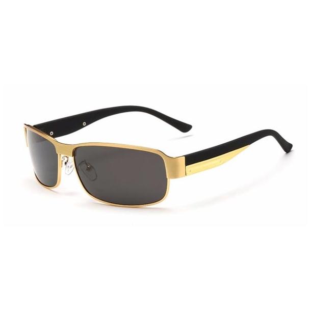 #S49 Stilrent gylden Herre solbrille med Polaroid og UV400 filter
