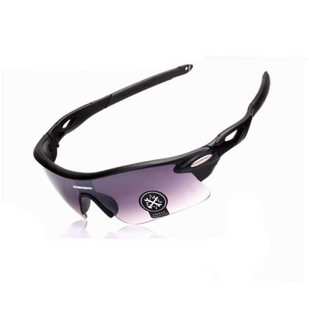 #S55 Cykelbrille sort med grå glas, UV400 filter og polaroid-glas