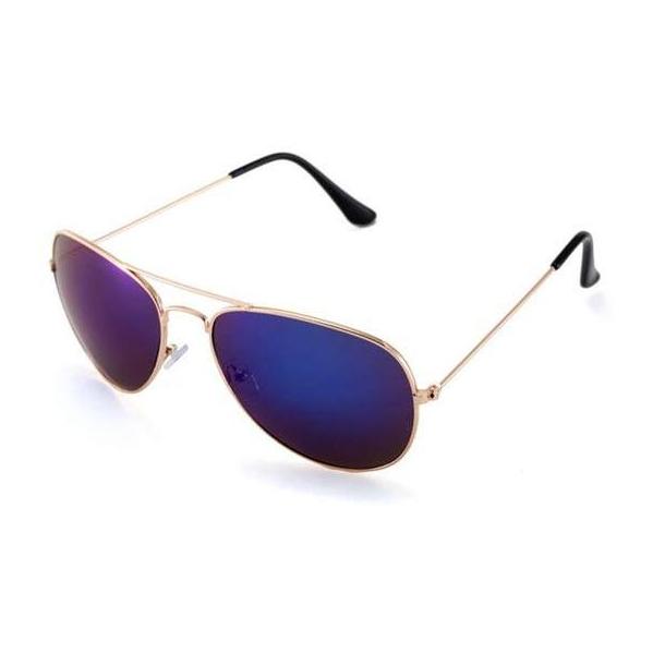 #S62 Klassisk pilotbrille med gyldent stel og blåt spejlglas med UV400 filter