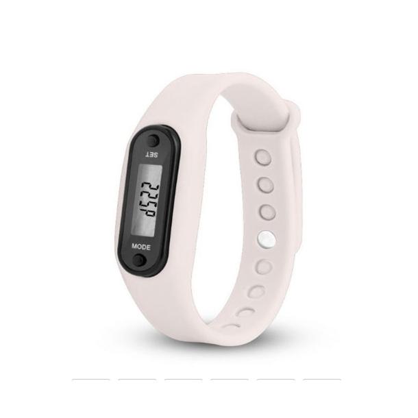 #301 Hvid LCD ur med skridttæller