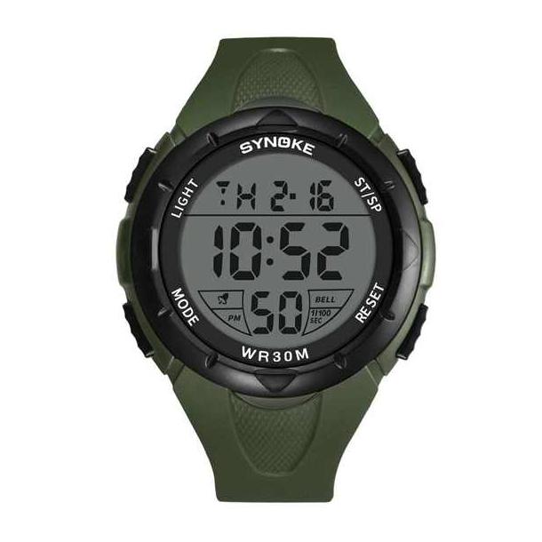 #372 Vandtæt (30m) militærur med digital display og army grøn rem