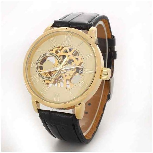 #28 Lækkert skeleton ur, med gennemsigtig bagplad og automatisk optræk. Gylden skive.