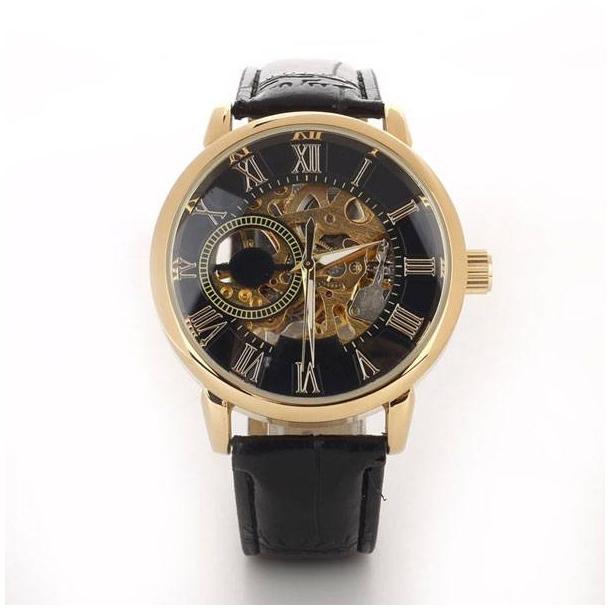 #239 Lækkert skeleton ur, med gennemsigtig bagplad og automatisk optræk. Sort skive.