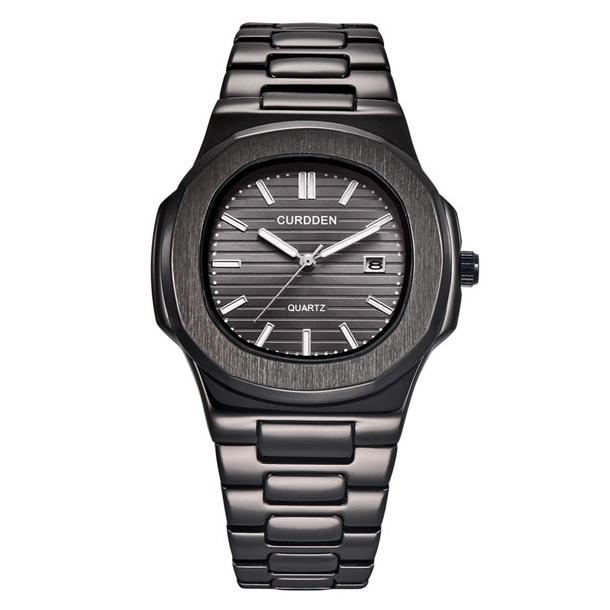 #254 Stilrent sort armbåndsur i 70´er look med datovisning