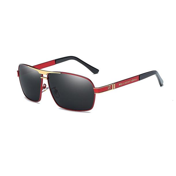 #S16 Lækker rød og guldfarvet Mercedes solbrille med poloraid glas og UV filter