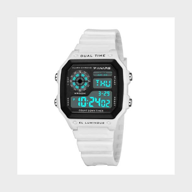 #534 Retro hvid LCD  - dual time - vandtæt 50 m