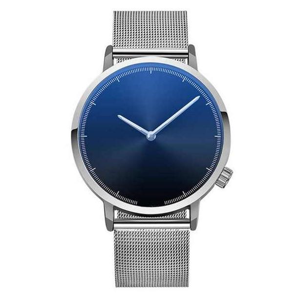 #17 Lækkert ur med blå skive, stålfarvet hus og MESH rem