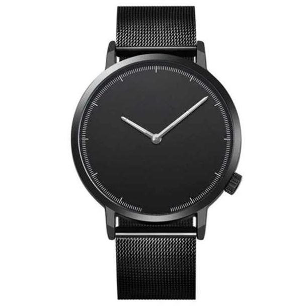 #79 Lækkert ur med sort hus, MESH rem og sort skive