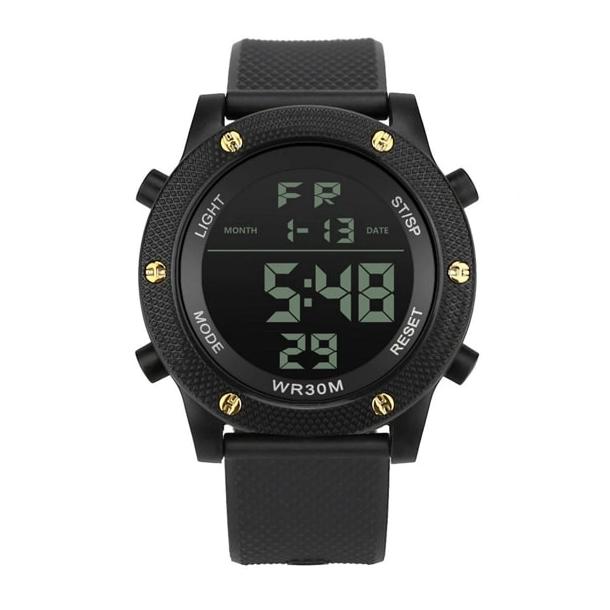 #199 Lækkert militære ur med digital display ur - sort hus og rem
