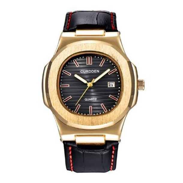 #387 Stilrent sort armbåndsur i 70´er look med datovisning og lækker rem