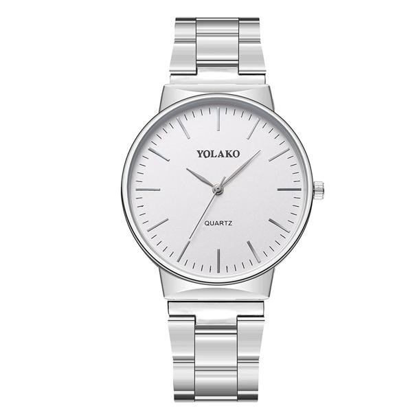 #389 Lækkert ur i stål med hvid urskive