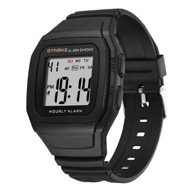#350 Sort LCD ur  med store tal
