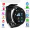 #102 Lækker sort rundt Smartband med Bluetooth