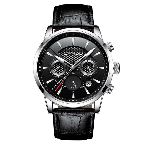 #209 Elegant armbåndsur med, stopur, datovisning, sort skive og læderrem.