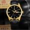 #32 Klassiske luksus ur, med guldtonet hus, sort skive og læderrem