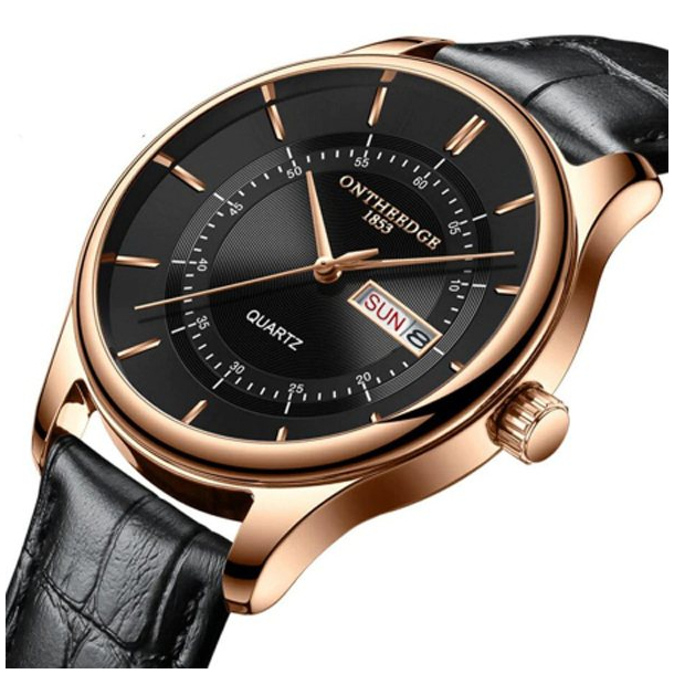 #11 Lækkert rødguld tonet Dress-ur med dato og sort skive.