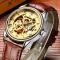 #378 Lækkert skeleton ur, med brun læderrem og automatisk optræk.