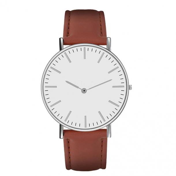 #326 Klassisk ur med stålhus, hvid urskive skive og lækker brun rem