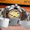 #57 Lækkert skeleton ur, med stållænke og automatisk optræk.