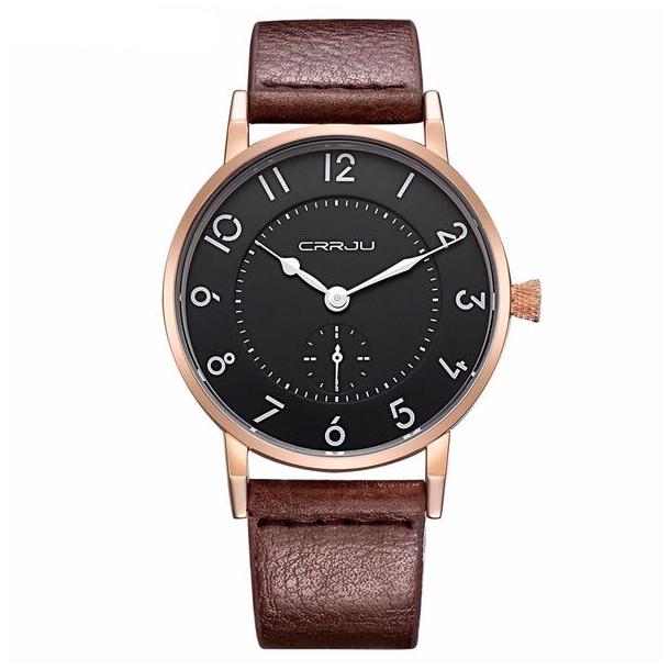 #214 Lækkert herrearmbåndsur, med guldtonet hus og med separat sekundviser.