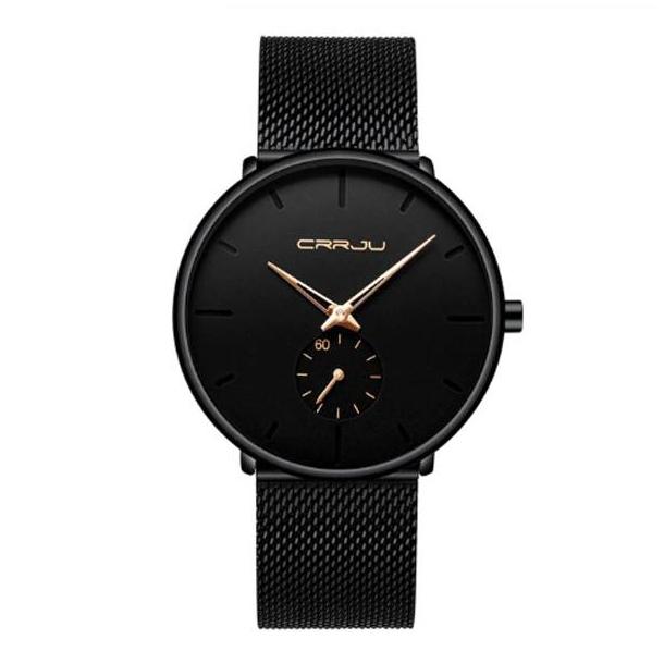 #172 Lækkert armbåndsur sort urskive, hus og MESH rem - Med separat sekundviser