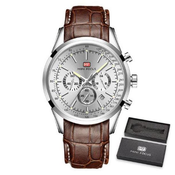 #265 Elegant armbåndsur med stål skive, stopur og datovisning. Læderrem.