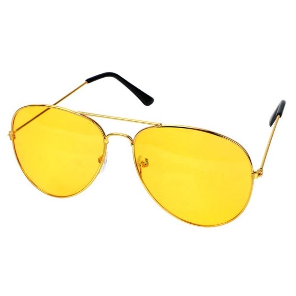 #S27 Pilot solbrille med gult køre glas