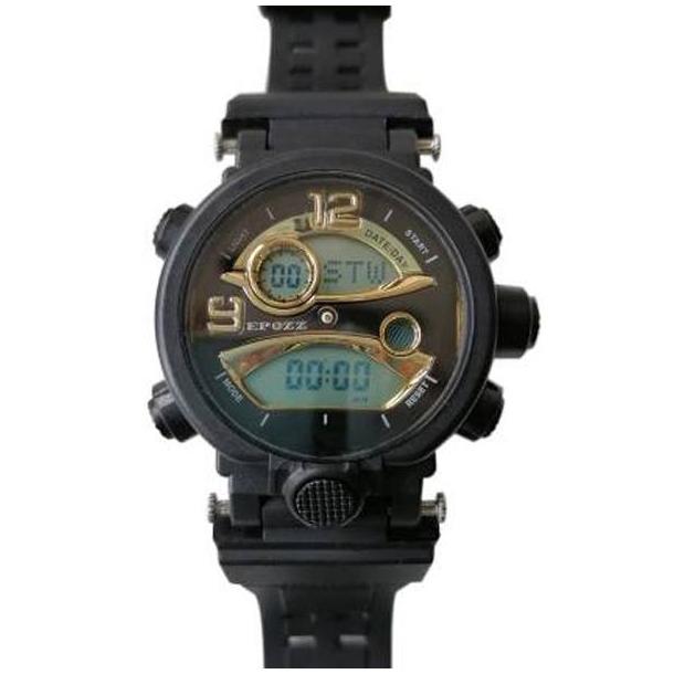 #170 Lækkert militære ur med digital display ur - sort/guldfarvet hus
