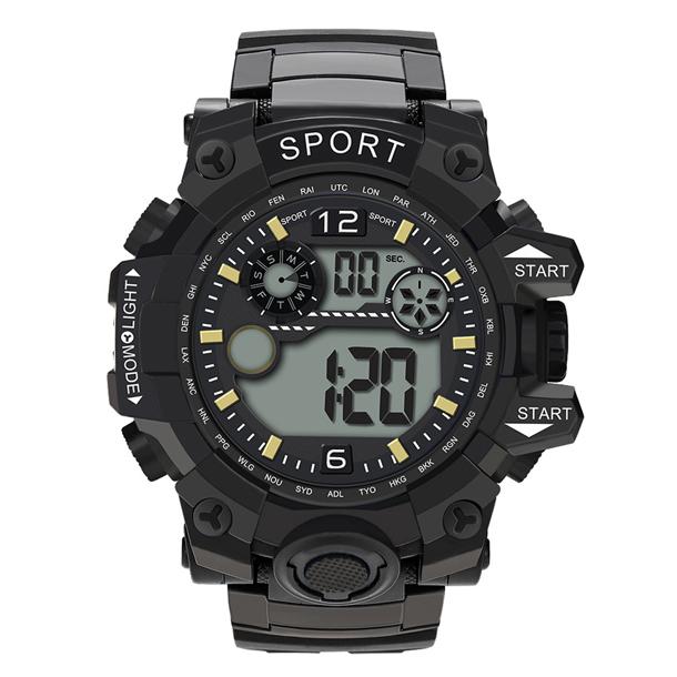 #465 Vandtæt (30m) sportsur med digital display og sort rem