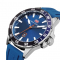 #160 Lækkert blåt herre armbåndsur med dato og gummirem