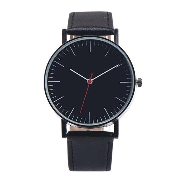 #190 Klassisk og stilrent ur med sort skive og rem