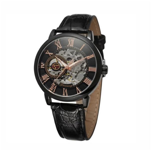 #418 Lækkert sort skeleton ur, med gennemsigtig bagplad og automatisk optræk. Sort skive.