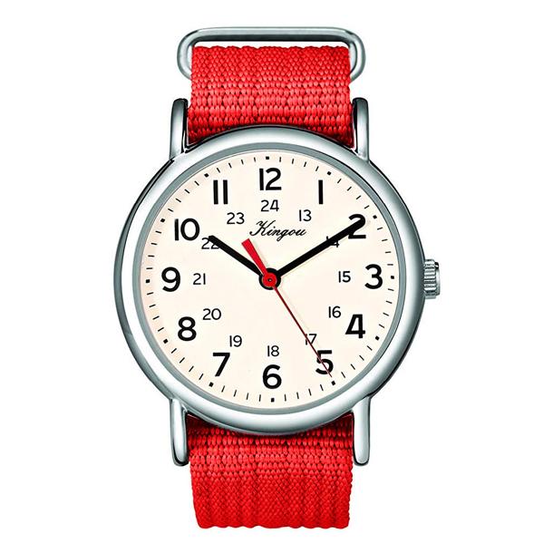 #109 Army ur med hvid urskive og rød canvas rem