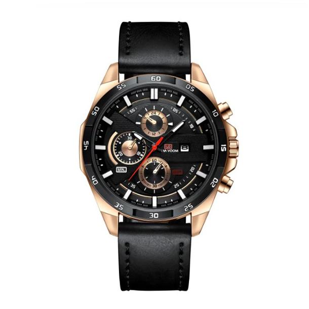 #1 Stillet armbåndsur med guldtonet hus og sort rem