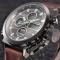 #507 Lækkert militær ur med brun rem og mørk urskive - analog og digital ur