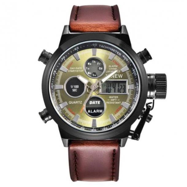 e7f7037dec8 #242 Dual militær ur med brun rem og grøn skive - analog og digital ur