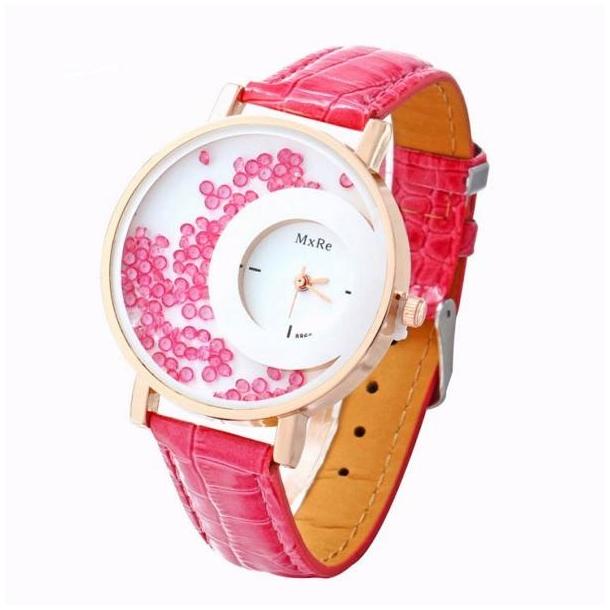 #91 Smart lyserød dameur, hvor perler flyder rundt i uret.