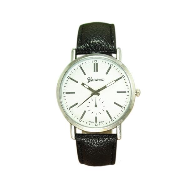 #278 Klassisk ur med sort rem og hvid skive