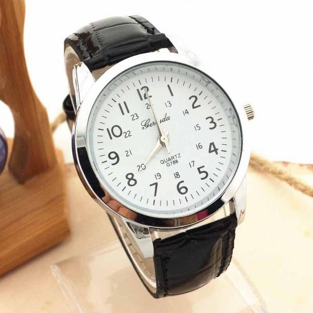 #247 Klassisk ur med sort rem, hvid skive og stålhus