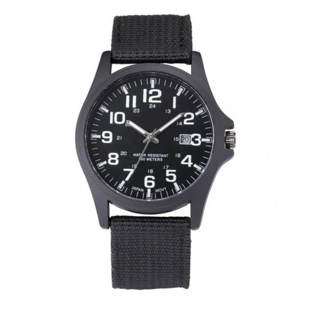 #302 Stilrent sort militær ur med canvas rem og datovisning