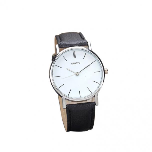 #345 Klassisk ur med hvid skive og sort rem