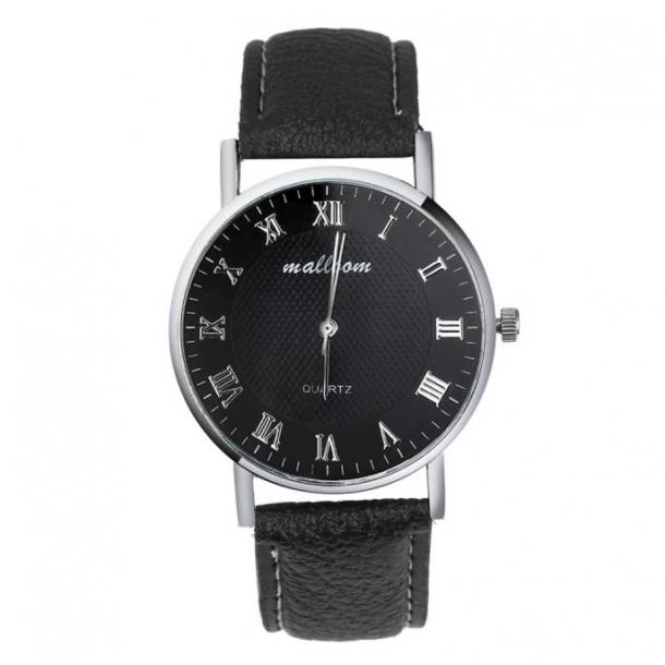 #320 Klassisk ur med sort rem og lækker skive - romertal
