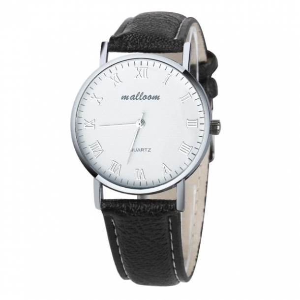 #321 Klassisk ur med sort rem og hvid skive - romertal