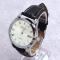 #376 Klassisk armbåndsur, med blank stål skive og dato visning. Sort rem.