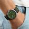 #201 Army ur  med canvas rem og datovisning - grøn skive